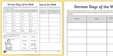 German Days of the Week