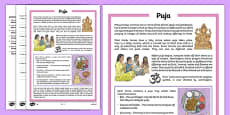 Puja Differentiated Comprehension Activity Sheet Pack