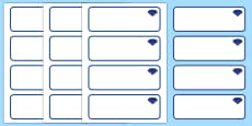 Sapphire Blue Themed Editable Drawer-Peg-Name Labels (Blank)