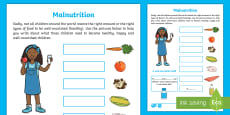Unicef Day for Change KS1 Malnutrition Activity Sheet