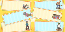 The Farmer and His Sons Editable Drawer Peg Name Labels