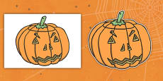 Editable Halloween Jack 'o' Lantern Pumpkin (A4)