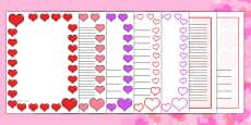 Valentine's Day Page Borders (A4) - Australia