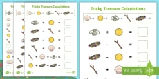* NEW * Tricky Treasure Problems Differentiated Activity Sheets