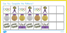 Olympics Complete the Pattern Activity Sheet