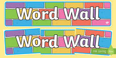 Word Wall Display Banner Colour Bricks