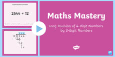 Long Division   4 Digit Numbers by 2 Digit Numbers PowerPoint