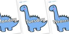 Days of the Week on Diplodocus Dinosaurs