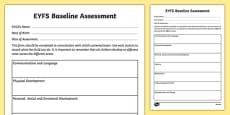 Childminder EYFS Baseline Assessment