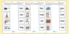 CVC Word and Picture Matching Activity Sheets a