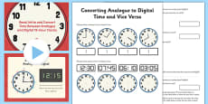 Converting Analogue to Digital Time and Vice Versa Lesson Pack