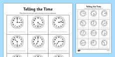 O'clock, Half Past and Quarter Past To Times Activity Sheet