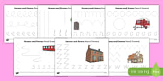Houses & Homes Pencil Control Sheets