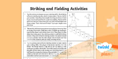 PE: Striking and Fielding Year 3 Home Learning Tasks