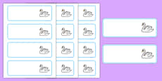 Swan Themed Editable Drawer-Peg-Name Labels (Colourful)