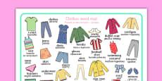 Clothes Word Mat Polish Translation