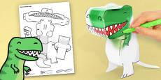 3D T-Rex Paper Model Activity