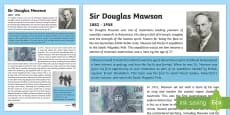 Australian Early Explorers  Douglas Mawson Fact File