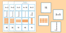 2, 5 and 10 Times Table Multiplication Matching Puzzle Mandarin Chinese