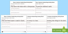 Phase 4 Sentence Handwriting Activity Sheets