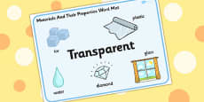 Materials And Their Properties Transparent Materials Word Mat