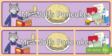 Display Banner to Support Teaching on Mr Wolf's Pancakes