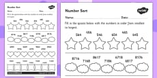 Place Value Number Sorting Activity Sheet