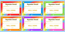 Super Star Award Certificates