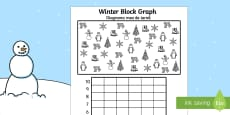 Winter Themed Colour, Count and Graph Activity Sheet Romanian/English