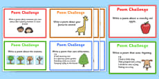 Writing Poems Challenge Cards