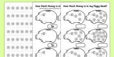 How Much Money Is In My Piggy Bank 1p Activity Sheet