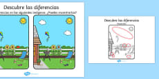 Summer Spot the Difference Activity Spanish