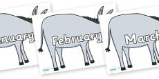 Months of the Year on Hullabaloo Donkey to Support Teaching on Farmyard Hullabaloo