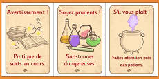 Wizard and Witches Workshop Role Play Safety Signs French