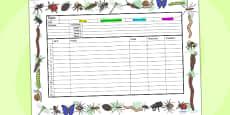 Minibeasts Themed Editable Medium Term Planning Template