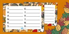 Thanksgiving Acrostic Poem Template