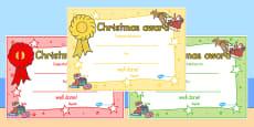 Australia - Christmas Themed Reward Certificates