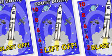 Space Rocket Countdown Display Posters 10-0