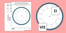 Blank Roman Numerals Clock Cut and Stick Activity