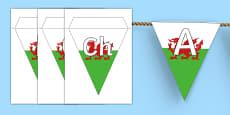 Welsh Alphabet on Display Bunting