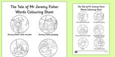 Beatrix Potter - The Tale of Mr Jeremy Fisher Words Colouring Sheet