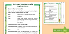 KS1 Jack and the Beanstalk Play Script Extracts Differentiated Reading Comprehension Activity