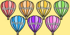 Days of the Week on Hot Air Balloons (Plain) German