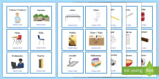 Everyday Objects at School Editable Cards Spanish