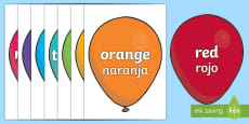 * NEW * Colours on Balloons Topic Words on Topic Images English/Spanish