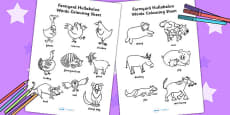 Words Colouring Sheet to Support Teaching on Farmyard Hullabaloo