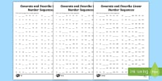 Find Missing Terms Generate and Describe Linear Number Sequences Activity Sheets