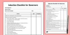 Induction Checklist for Governors