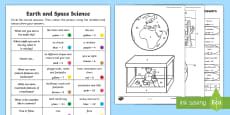 Year 1 Earth and Space Questions and Colouring Activity Sheets