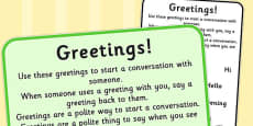 Starting a Conversation Social Greetings Sentence Card
